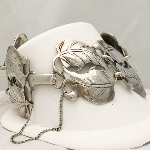 Vintage Sterling Silver Leaves Bracelet CB0057