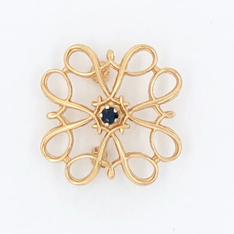 10K Yellow Gold Four Sector Swirl Pin with Blue Stone (Believed to be Sapphire) in Center   CP0023