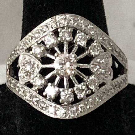 14K White Gold Vintage Inspired Diamond Ring  CR0185