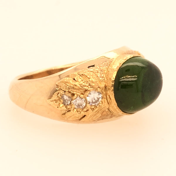 Handmade14K Cabochon Green Tourmaline and Diamond Ring  CR0197