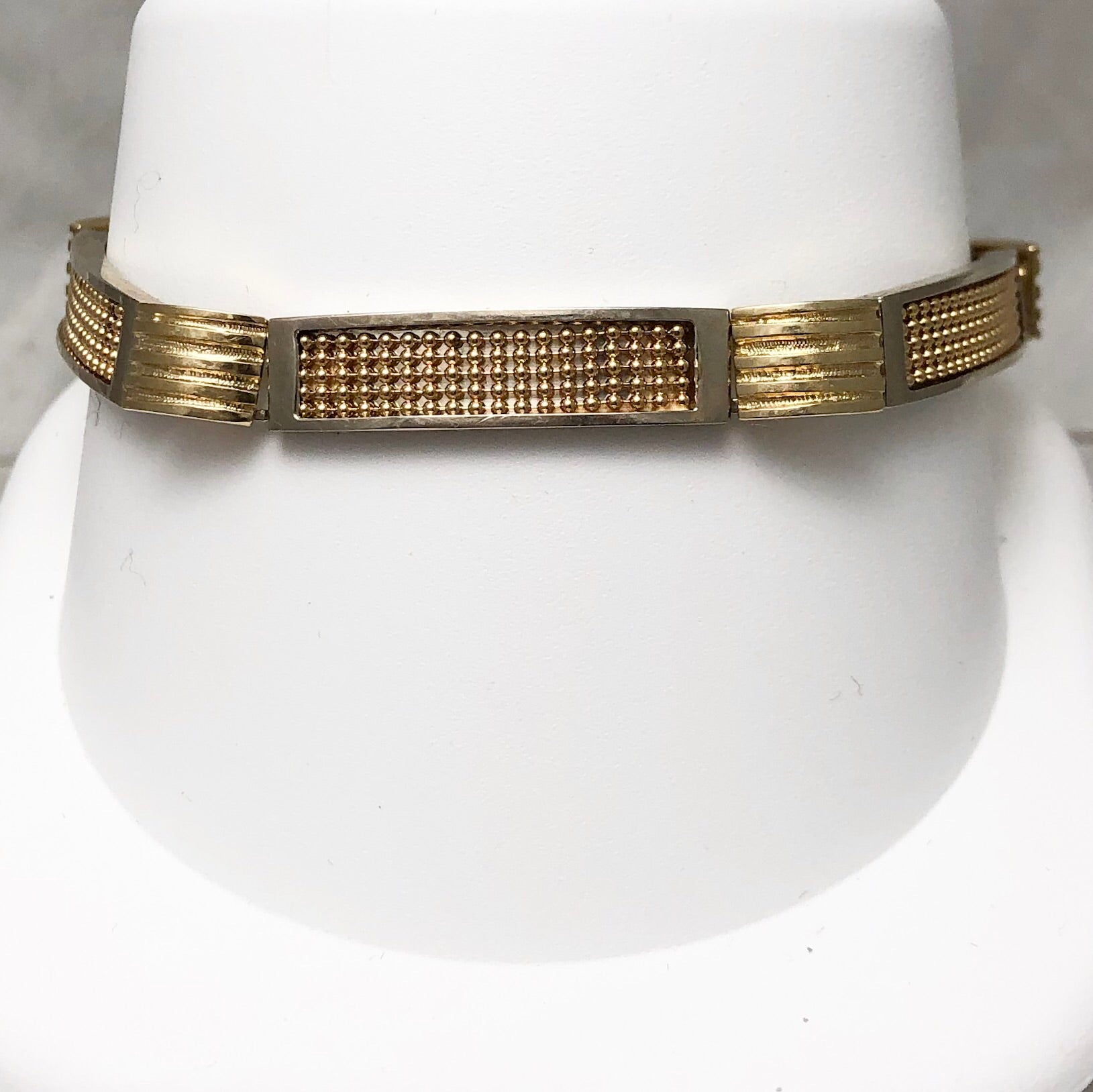 14K Yellow Varying Textures Gold Bracelet, Links SI0071