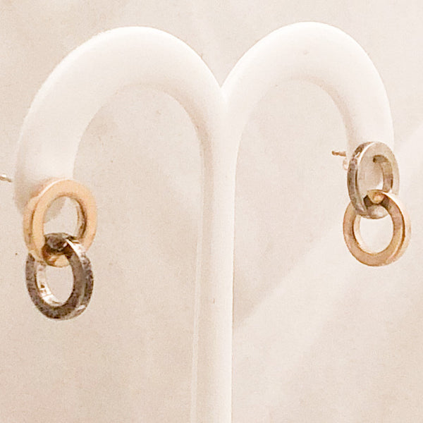 Sterling Silver and 18K Double Circle Tiffany Earrings   CE0102