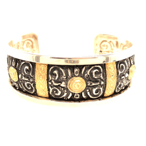 Sterling Silver and 18K Yellow Gold White Horse Collection Repouse Cuff Bracelet   WHB0003