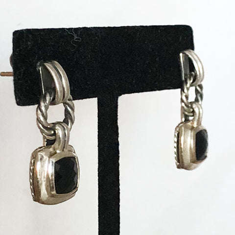 Sterling Silver David Yurman Dangling Smokey Topaz Earrings   CE0109
