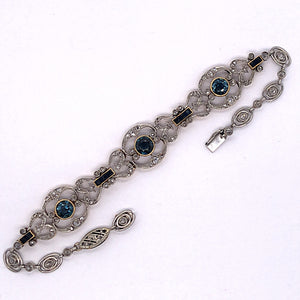 Platinum and 18K Yellow Gold Old Cut Diamond and Sapphire Bracelet  CB0061