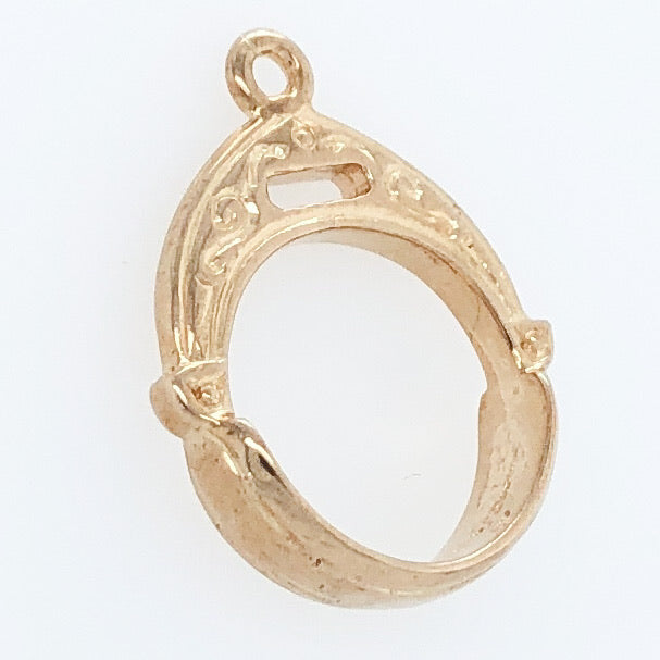 14K Yellow Gold White Horse Collection 12th Century Persian Stirrup Charm   WHC0011