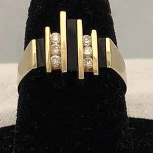 14K Yellow Gold Channel Set Diamond & Black Onyx Ring  CR0177