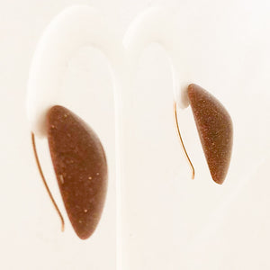 14K Yellow Gold Goldstone Leaf Shaped Designer Ted Muehling Earrings   CE0075
