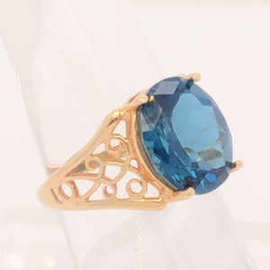 14K Yellow Gold Scroll Design Oval London Topaz Ring  CR0193