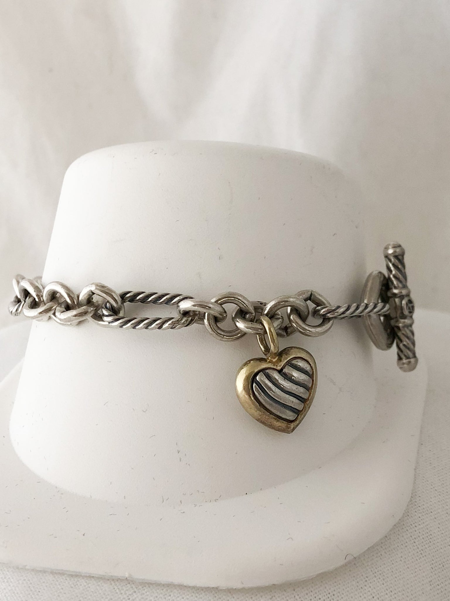 Sterling Silver and 18K Yellow Gold David Yurman Link with Heart Bracelet   CB0055