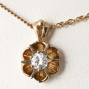 Vintage 14K Yellow Gold Buttercup Diamond Pendant onTwo Texture Chain Necklace  SI0187