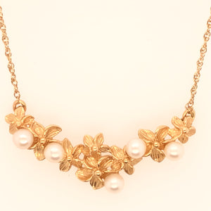 14K Yellow Gold Necklace with Flower Center with Pearls  SI0159
