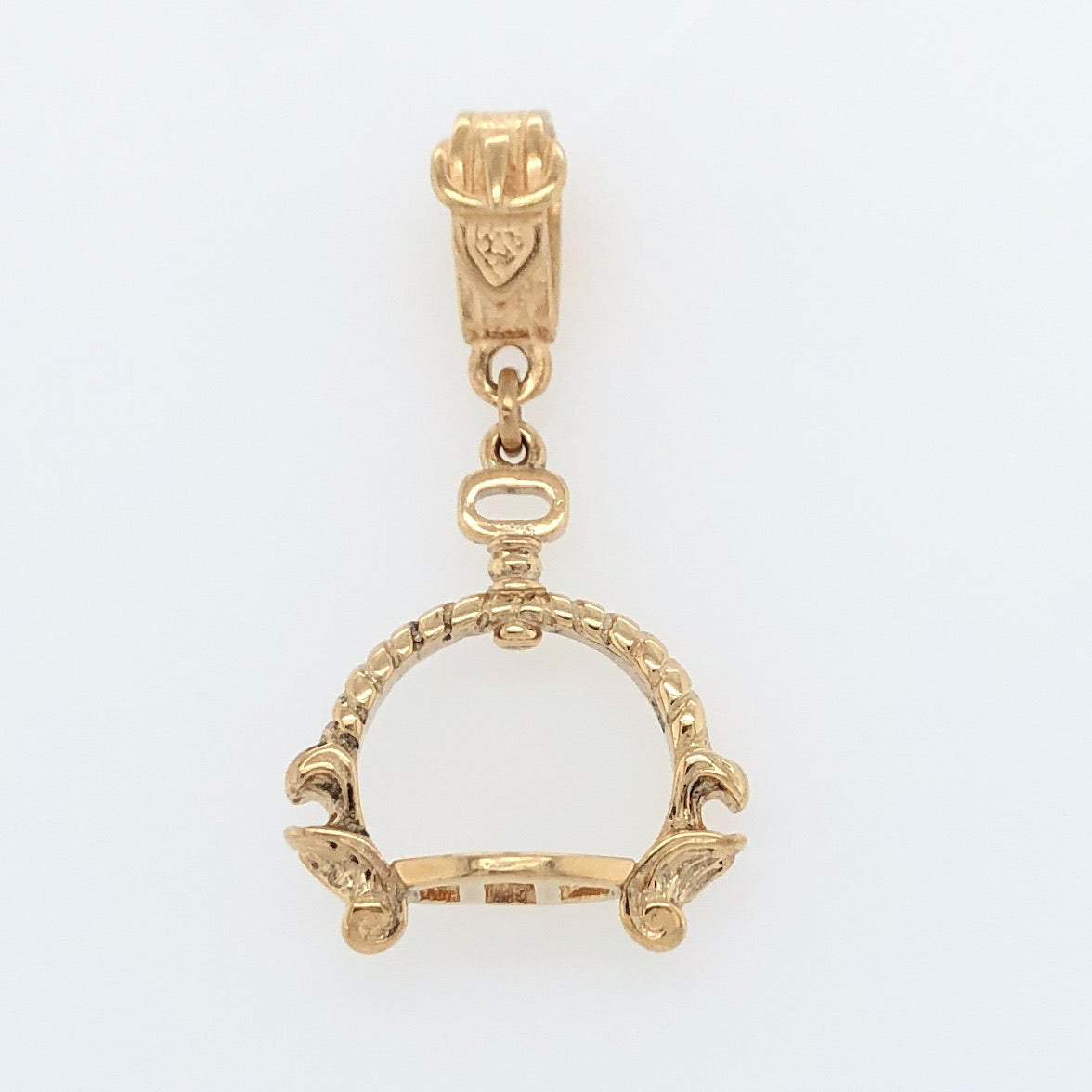 14K Yellow Gold White Horse Collection 17th Century French Stirrup Pendant   WHP0003