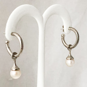 SS Hoops with Elongated Dangle Pearl Earrings  NSI0194