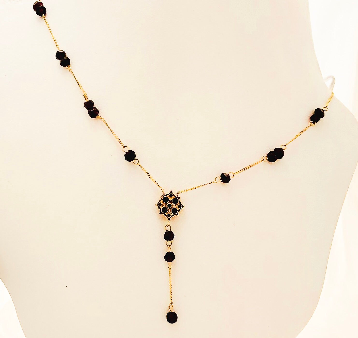 14K Yellow Gold Garnet Dangle Necklace  - CN0026