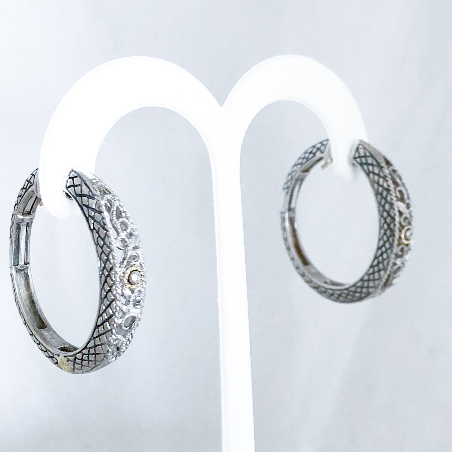 Sterling Silver & 18K White Gold Hoop Earrings   CE0086