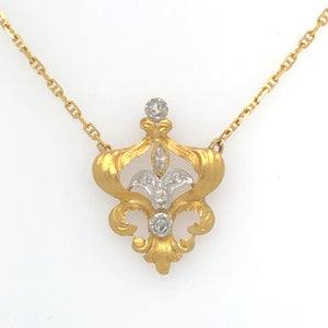 14K Yellow Gold Necklace with Diamond Accented Fleur-De-Lis Center  SI0232