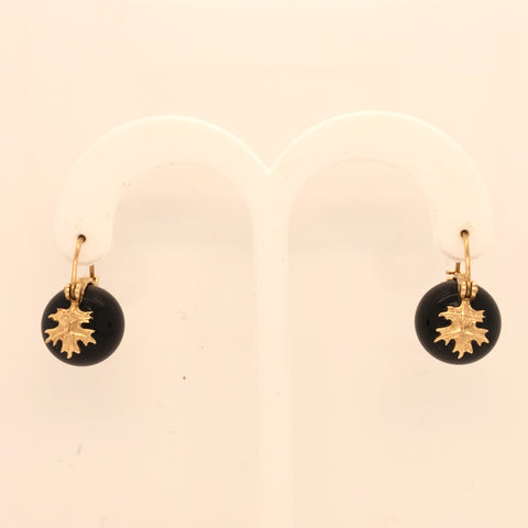 14K Yellow Gold Onyx Oak Leaf Earrings  SI0161