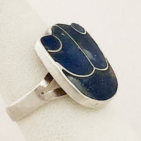 Sterling Silver Handmade Inlaid Lapis or Sodalite Ring    JSI0135