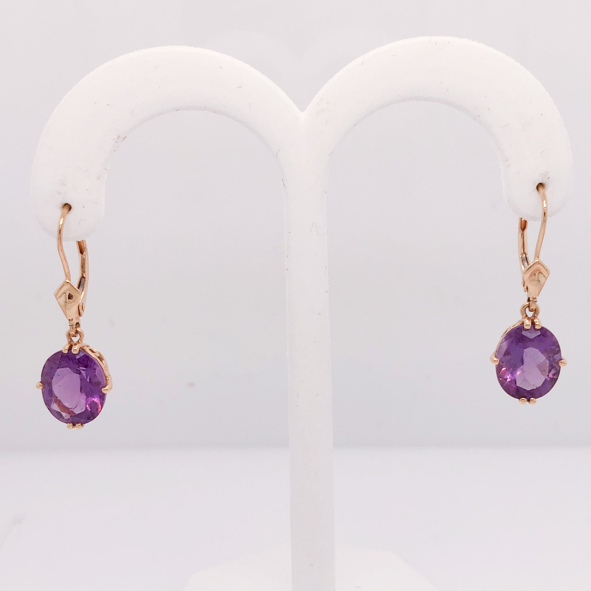 14K Yellow Gold Lever Back Dangle Earrings with Amethysts  CE0123