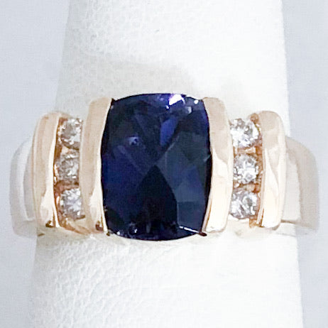 14K Yellow Gold 1.75 ct Blue Iolite & Diamond Ring   CR0142