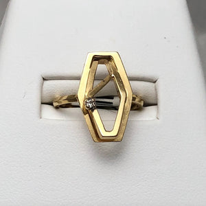 14K Yellow Gold Mod Wire Tiny Diamond Ring  CR0076