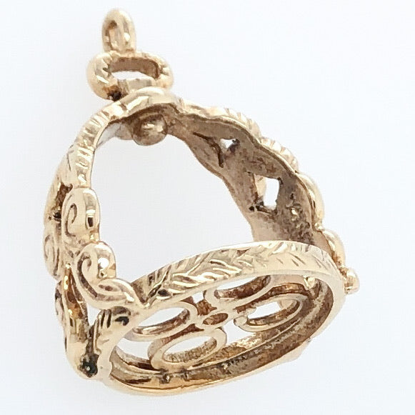 14K Yellow Gold White Horse Collection 18th Century French Stirrup Charm   WHC0004
