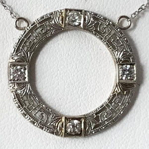 10K White Gold Round Filigree Pendant with Diamonds on 14K White Gold Chain   SI0189