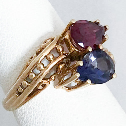 10K Yellow Gold Pear Garnet & Pear Iolite (cttw 2.40) Ring   CR0154
