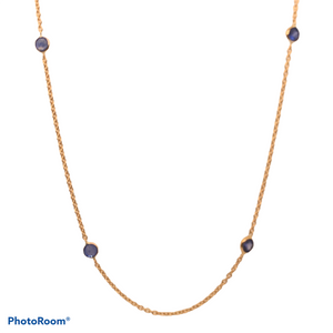 14K Yellow Gold Blue Sapphire Station Necklace  SI0161