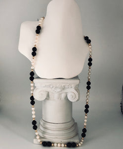 "Onyx, White Pearl, Gold 30"" Necklace, Purchased at Tiffany's, CN0013"