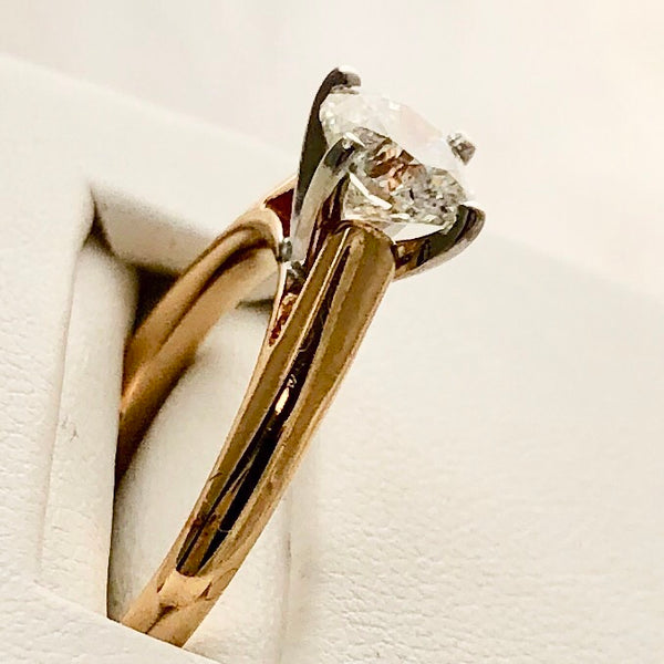 18K Yellow Gold Shank Plat Head 1 Carat Diamond Ring CR0058