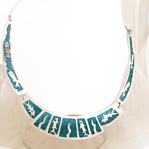 Sterling Silver Figural Inlay Turquoise 3 Panel Necklace   CN0052