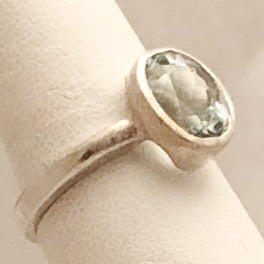 Sterling Silver Ring with Light Blue Stone   SI0107