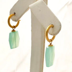 Vermeil  Blue Chalcedony Rectangular Drop Earrings - CE0026