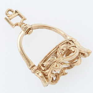 14K Yellow Gold White Horse Collection 17th Century Spanish Stirrup Charm   WHC0015