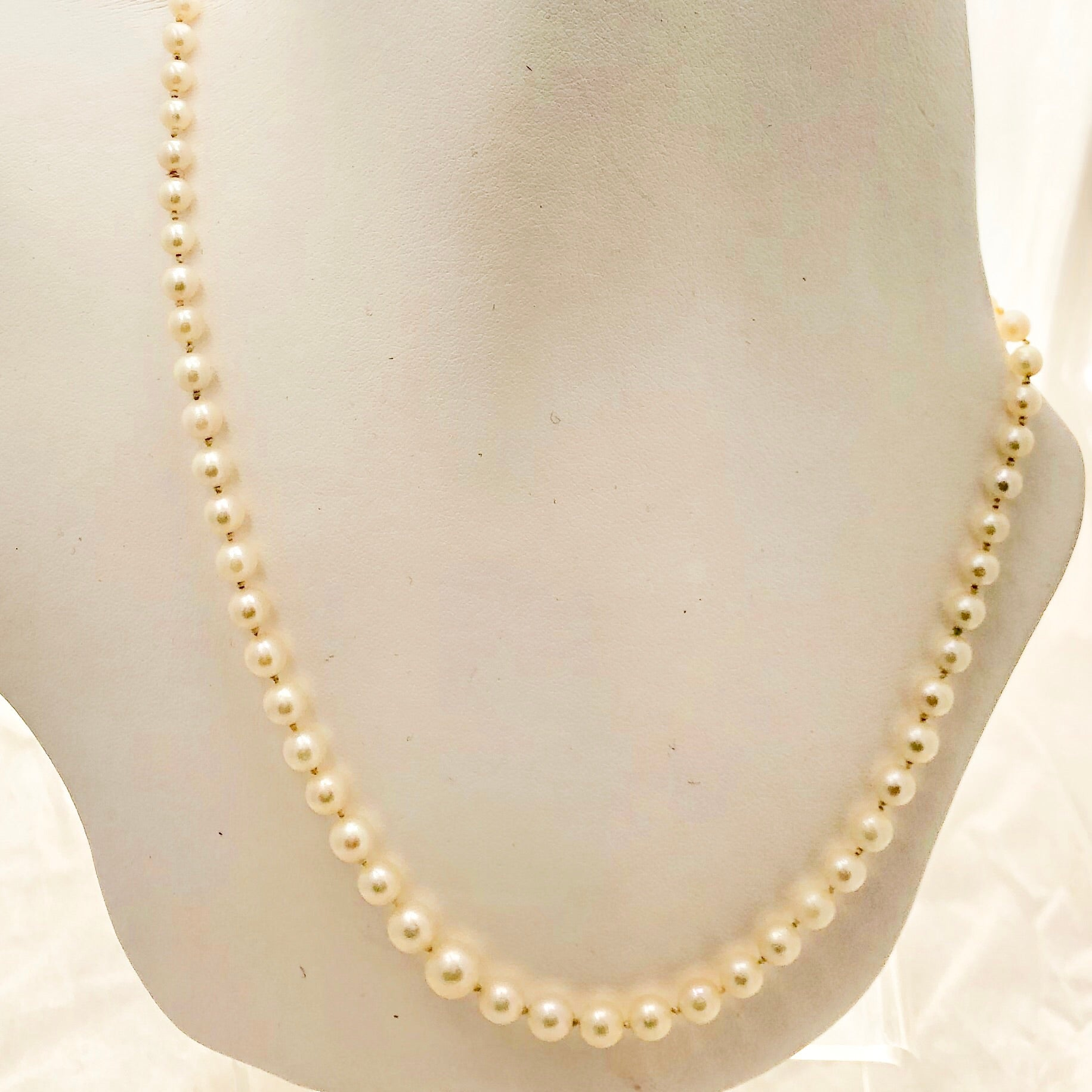 "14K Yellow Gold Clasp 19"" Graduated Pearl Necklace - CN0027"