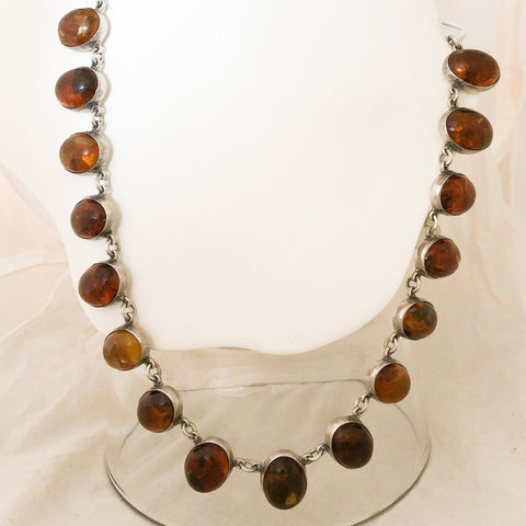 Sterling Silver Handmade Bezel Set Oval Amber Necklace    SI0131