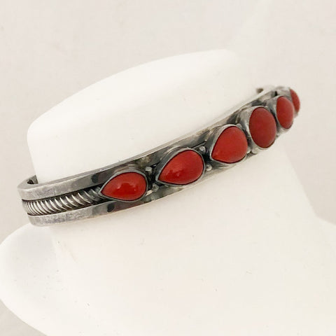 Sterling Silver Signed Native American Coral Cuff Bracelet   CB0037