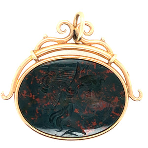 Vintage 10K Carved Bloodstone Watch FOB  CPEND0037