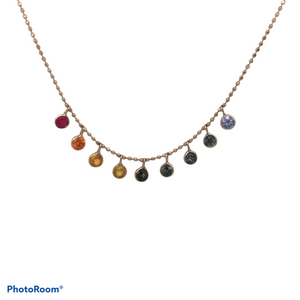 14K White Gold Dangle Rainbow Sapphire Necklace SI0160