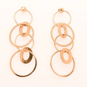 14K Yellow Gold Post Earrings with Dangles of Cascading Circles  CE0125