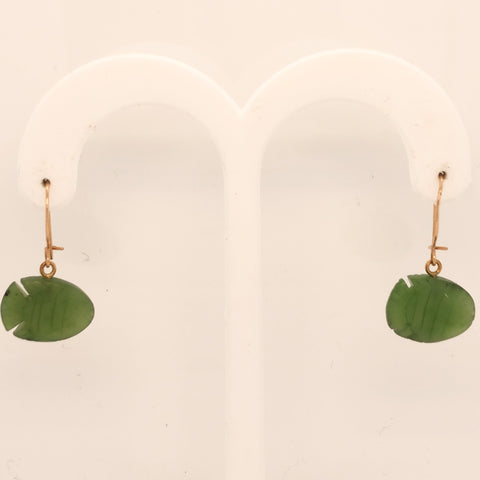 14K Yellow Gold Jade Fish Dangle Earrings  SI0162