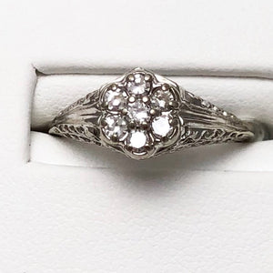 14K White Gold Diamond Cluster Ring  CR0077