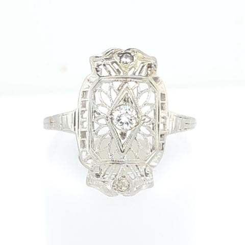 10K White Gold Filagree Ring with Diamond Chip  CR0188