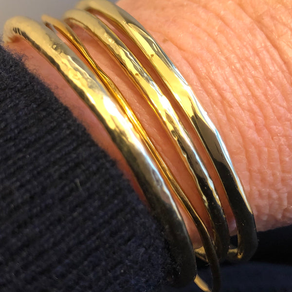 Ippolita Handmade 18K Yellow Gold @4mm Wide Stacking Bangle CB0021