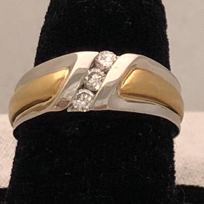 Platinum and 18K Band Ring with Three Diamonds  CR0179
