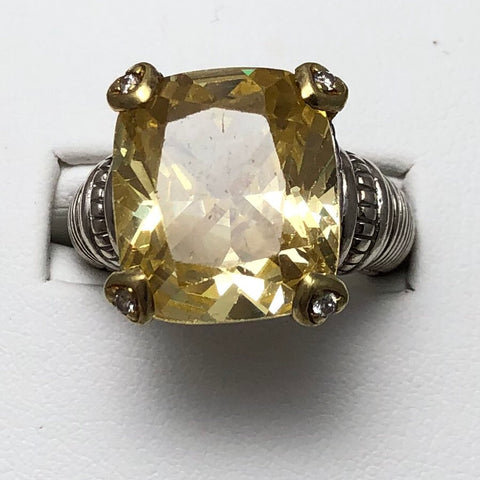 Sterling Silver and 18K Yellow Gold Ring with Large Yellow Stone   CR0094
