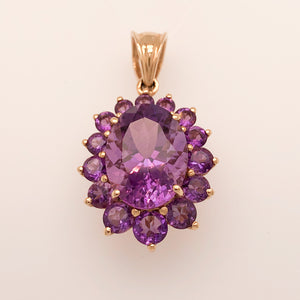 14K Yellow Gold Pendant with Large Purple Amethyst Cluster  CPEND0030