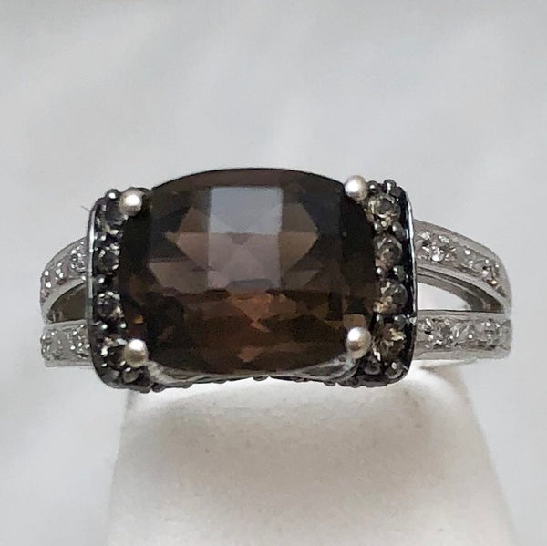 10K White Gold Sideways Oval Smokey Topaz, Diamond Accents   CR0099